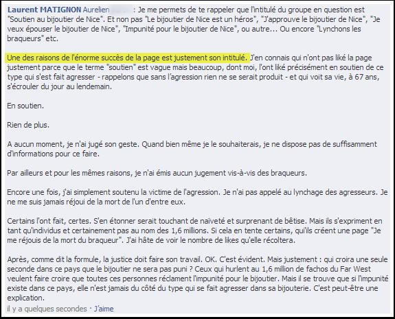 Une explication du succès de la page de soutien au bijoutier ?